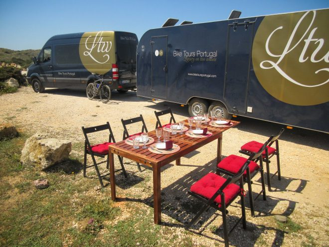 Bike Tours Portugal gourmet picnic lunch and luxury sprinter van and trailer